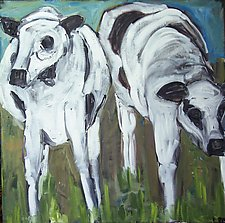 Two Cows by Elisa Root (Oil Painting)