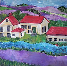 Red Roofs Purple Hills by Elisa Root (Oil Painting)