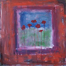 Abstract with Poppies by Elisa Root (Oil Painting)