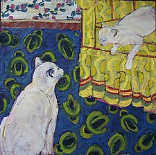 Two White Cats on Blue and Yellow by Elisa Root (Oil Painting)
