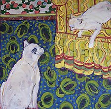 Two Cats on Blue and Yellow Rug by Elisa Root (Oil Painting)