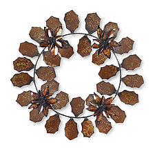Poinsettia Wreath by Ben Gatski and Kate Gatski (Metal Wall Sculpture)