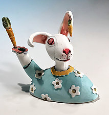 Rabbit by Amy Goldstein-Rice (Ceramic Sculpture)