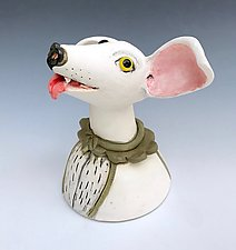 Pink-Eared Dog by Amy Goldstein-Rice (Ceramic Sculpture)