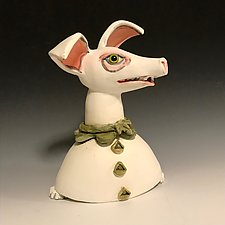Pinky Dog by Amy Goldstein-Rice (Ceramic Sculpture)