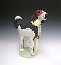 Dandy Beagle by Amy Goldstein-Rice (Ceramic Sculpture)