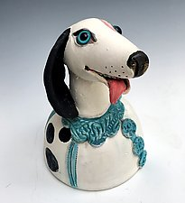Black and White Spotted Dog by Amy Goldstein-Rice (Ceramic Sculpture)