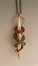Silver Hollow Form with Cascade of Color by Suzanne Linquist (Silver & Brass Necklace)