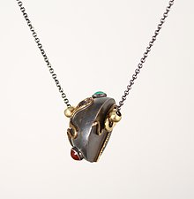 Hemisphere with Brass and Stones by Suzanne Linquist (Jewelry Necklaces)