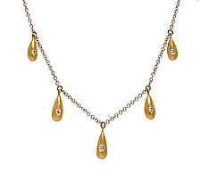 Gold Drop Necklace with Five Ingots by Diana Widman (Gold & Stone Necklace)