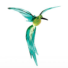 Tropical Hummingbird by WGK Glass (Art Glass Ornament)