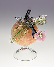 Peach Bottle with Dragonfly by Loy Allen (Art Glass Sculpture)