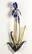 Wall-Mounted Iris by Loy Allen (Art Glass Wall Sculpture)