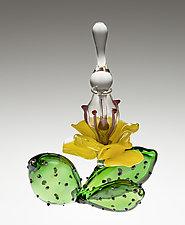 Cactus Flower Bottle by Loy Allen (Art Glass Sculpture)