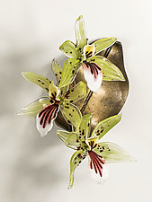 Triple Green Orchid by Loy Allen (Art Glass Wall Sculpture)