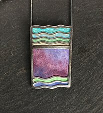 Stone Wave Pendant by Carly Wright (Silver & Enamel Necklace)
