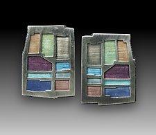 Earrings No. 222 by Carly Wright (Silver & Enamel Earrings)