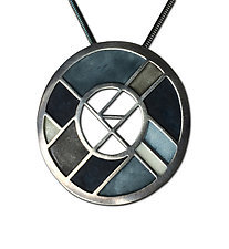 Windmill Pendant No. 485 by Carly Wright (Silver & Enamel Necklace)