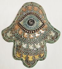 Moroccan Hamsa by Laurie Pollpeter Eskenazi (Ceramic Wall Sculpture)
