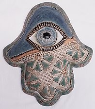 Denim Hamsa by Laurie Pollpeter Eskenazi (Ceramic Wall Sculpture)