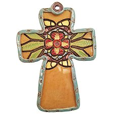 Lupe's Cross by Laurie Pollpeter Eskenazi (Ceramic Wall Sculpture)