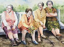 Bench Warmers by Terrece Beesley (Watercolor Painting)