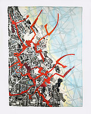 Cartographic Collage V by Valerie Goodwin (Fiber Wall Hanging)