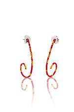 Pink and Gold Spiral Earrings by Shana Kroiz (Gold & Enameled Earrings)