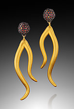 Dangling Arabesque and Sapphire Cluster by Shana Kroiz (Gold, Silver & Stone Earrings)
