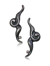 Twisted Swoosh With Posts by Shana Kroiz (Silver & Stone Earrings)