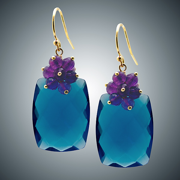 London Blue Quartz and Amethyst Cluster Earrings