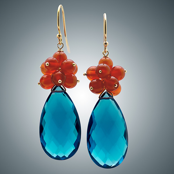 London Blue Quartz and Carnelian Teardrop Earrings
