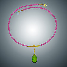 Pink Quartz and Peridot Quartz Necklace by Judy Bliss (Gold & Stone Necklace)