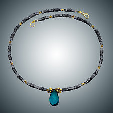 Hematite and London Blue Quartz Necklace by Judy Bliss (Gold & Stone Necklace)