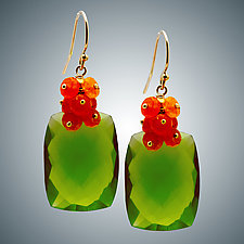 Carnelian and Peridot Quartz Earrings by Judy Bliss (Gold & Stone Earrings)