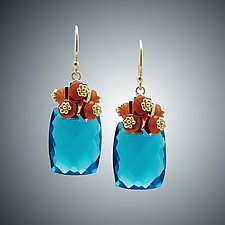 London Blue Quartz and Carnelian Mini Earrings by Judy Bliss (Gold & Stone Earrings)