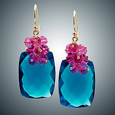 London Blue Quartz and Pink Quartz Earrings II by Judy Bliss (Gold & Stone Earrings)