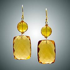 Gold Quartz Earrings IV by Judy Bliss (Gold & Stone Earrings)