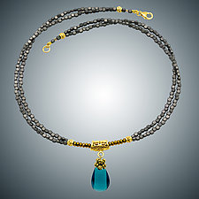 Gray Hematite and London Blue Quartz Necklace by Judy Bliss (Gold & Stone Necklace)