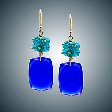 Aqua and Royal Blue Quartz Earrings by Judy Bliss (Gold & Stone Earrings)