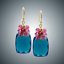 London Blue Quartz and Pink Quartz Cluster Earrings by Judy Bliss (Gold & Stone Earrings)