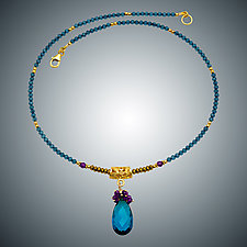 London Blue Quartz and Amethyst Bead Necklace by Judy Bliss (Gold & Stone Necklace)