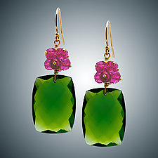 Pink Quartz Cluster and Peridot Quartz Earrings by Judy Bliss (Gold & Stone Earrings)