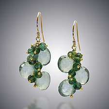 Green Quartz Earrings by Judy Bliss (Gold & Stone Earrings)