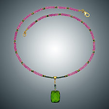 Pink and Peridot Quartz Necklace by Judy Bliss (Gold & Stone Necklace)