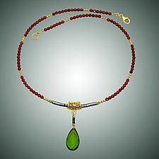 Peridot Quartz and Carnelian Necklace by Judy Bliss (Gold & Stone Necklace)