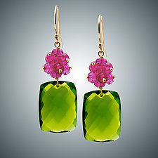 Peridot Quartz and Pink Quartz Mini Earrings by Judy Bliss (Gold & Stone Earrings)