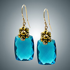 London Blue Quartz and Pyrite Earrings by Judy Bliss (Gold & Stone Earrings)