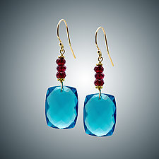 London Blue Quartz and Garnet Earrings by Judy Bliss (Gold & Stone Earrings)