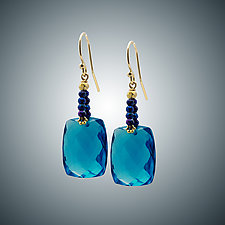 London Blue Quartz and Spinel Mini Earrings by Judy Bliss (Gold & Stone Earrings)